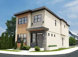 narrow lot contemporary duplex house