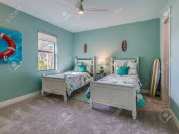 Kids Bedroom With Beach Decor And Green Paint Stock Photo Picture And Royalty Free Image Image 143574556