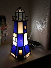 lighthouse stained glass lamp light w