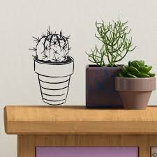 Potted Cactus Plant Wall Decal