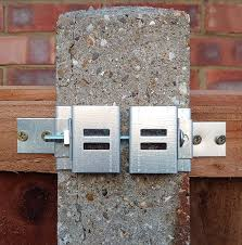 Postfix 4 X 4 Slotted Concrete Fence Post Brackets Complete With Integral Security Clips Pair Amazon Co Uk Garden Outdoors
