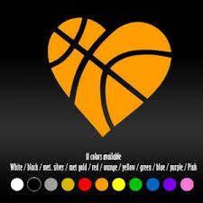 6 Heart Basketball Sports Cute Laptop Window Car Window Vinyl Decal Sticker Ebay