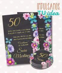 Invitacion Cumple 40 Tarjeta Cumple 50 Imprimible 355 00 En