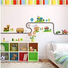 Amazon Com Cartoon Cars Highway Track Wall Stickers Kids Rooms Sticker Children S Play Room Bedroom Decor Wall Art Decals 40x147cmcm Baby