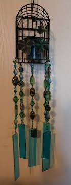 bird cage stained glass wind chime with