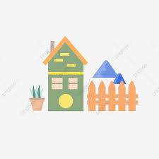 Icon Small House Fence Element For Commercial Use Natural Flowers Outskirts Png And Vector With Transparent Background For Free Download