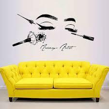 Beauty Salon Cosmetics Tools Make Up Wall Decals Girl Face Etsy Makeup Studio Decor Beauty Salon Decor Beauty Salon Interior