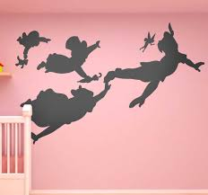 Flying Peter Pan Silhouette Wall Decal Tenstickers