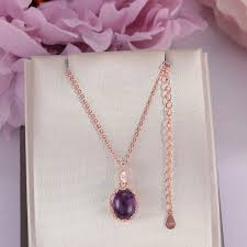 natural amethyst pendant necklace for