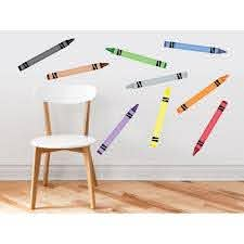 Crayon Fabric Wall Decals Set Of 9 Coloring Crayons In 9 Different Colors Removable Reusable Respositionable Walmart Com Walmart Com
