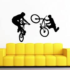 Wall Decal Vinyl Sticker Decals Bmx Bike Jump Freestyle Jumping Cyclist Extreme Sports Kids Boys Room Wall Stickers Home Decor Art Bedroom Design Interior Wall Decor Mural Baby B01434vyks