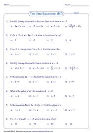 algebra equations worksheets