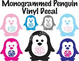 Monogrammed Penguin Vinyl Decal Personalized Vinyl Car Sticker Computer Decal Wall Vinyl Phone Monogram Decal Vinyl Sticker Gift Vinyl Decals Monogram Decal Car Stickers