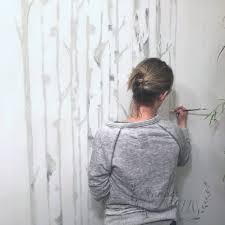 painting a birch tree mural on our