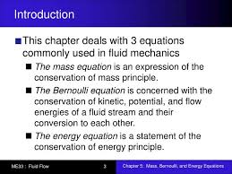 mass bernoulli and energy equations