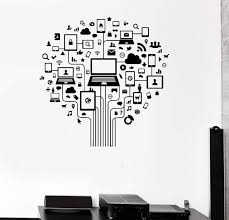 Vinyl Wall Decal Computer Tree Internet Social Networks Stickers Uniqu Wallstickers4you