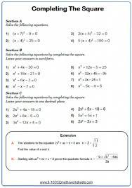 solving quadratic equations worksheets