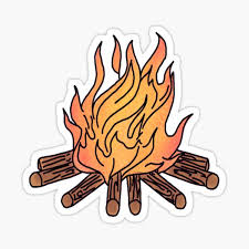 Burning Camp Fire Sticker By Andilynnf Redbubble