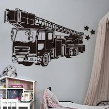Environment Friendly Vinyl Pvc Fire Truck Firefighter Wall Sticker Playroom Bedroom Firetruck Fire Hydrant Car Vehicle Wall Decal Kids Room Decoration Wish