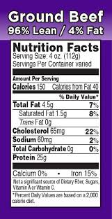 lean ground chuck nutrition fact labels