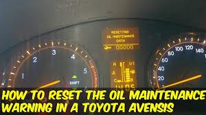 toyota avensis service warning reset