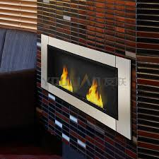wall mounted ethanol fireplace with two