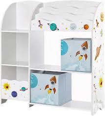Amazon Com Songmics Toy And Book Organizer For Kids 2 Storage Boxes Children S Room White Furniture Decor