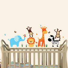 Colorful Jungle Tree Wall Decals With Giraffe Wall Stickers For Play Rooms