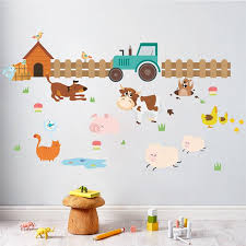 Farm Animals Fence Cattle Dog Wall Stickers For Kids Rooms Home Decoration Nursery Room Decor Mural Poster Wall Decals Big Stickers For Walls Big Wall Decals From Totwo2 5 93 Dhgate Com