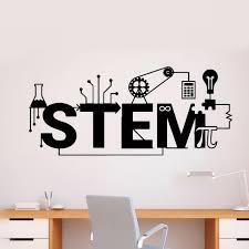 Science Stem Logo Wall Stickers Creative Style Vinyl Decal Technology Pattern Wall Poster School Classroom Decoration Az273 Wall Stickers Aliexpress