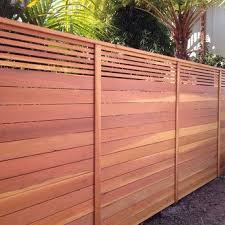 Custom Horizontal Fence With Picket Accent Top Stained Natural Yelp Wood Fence Design Patio Fence Trellis Fence