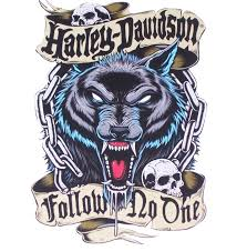 Hd Follow No One Wolf Biker Full Color Graphic Window Decal Stick