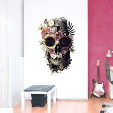 Garden Skull Wall Decal Floral Skull Art Wall Sticker Sugar Skull Wa Ikiiki Shop