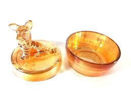 vintage amber glass trinket box
