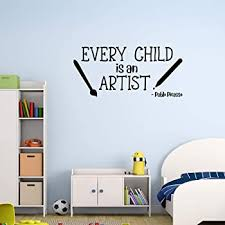 Amazon Com Basicor Every Child Is An Artist Wall Decal School Classroom Artwork Display Decor Picasso Quote Sticker Y1 Home Kitchen