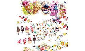 18 Sheets Cake Ice Cream Fruit Colorful Water Transfer Nail Art Decal Stickers Groupon