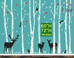 Wall Decal Sticker Birch Tree Forest Birds Deer Fawn Doe Buck Squirrels 9 Trees Ebay