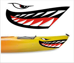 Amazon Com Welddecals Shark Teeth Mouth Decal Stickers Kayak Canoe Jet Ski Hobie Dagger Ocean Boat Sports Outdoors