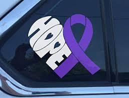Amazon Com Hope Heart Purple Awareness Ribbon Window Decal Epilepsy Lupus Cystic Fibrosis Rett Syndrome Craniosynostosis Fibromyalgia Active Everything Else