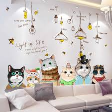 Shijuehezi Cartoon Cats Wall Stickers Diy Chandelier Wall Decals For House Kids Rooms Baby Bedroom Nursery Decoration Wall Stickers Aliexpress