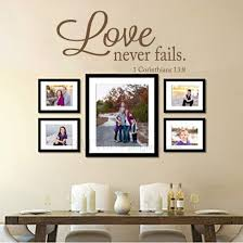 Amazon Com Battoo Love Never Fails Vinyl Wall Decal 40 W 19 H Bible Verse Scripture Quote Decal Wedding Registry Home Decor Dark Brown Furniture Decor