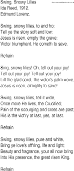 Hymn and Gospel Song Lyrics for Swing, Snowy Lilies by Ida Reed