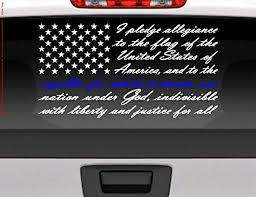 Amazon Com Byron Hoyle Pledge Of Allegiance American Flag Blue Line For Police Support Vinyl Window Decal For Cars Trucks Etc Patriotic Decal Home Kitchen