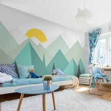 Abstract Art Mountain Wall Mural For Nursery Kids Room Bvm Home