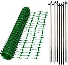 1m X 50m Green Mesh Barrier Safety Fence 80gsm 10 Metal Fencing Pins Amazon Co Uk Diy Tools