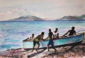The blue boat Painting by Byron Bailey
