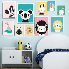 Children Posters Kawaii Animal Wall Art Canvas Prints Cartoon Painting Nordic Nursery Wall Pictures Kids Bedroom Decoration Buy At The Price Of 2 00 In Aliexpress Com Imall Com