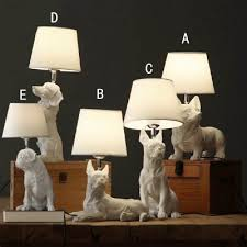 Dog White Table Lamp For Kids Bedroom With Linen Shade Beautifulhalo Com