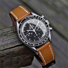 tan textured calf leather watch band
