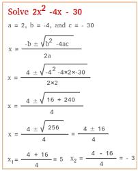 solve using the quadratic formula